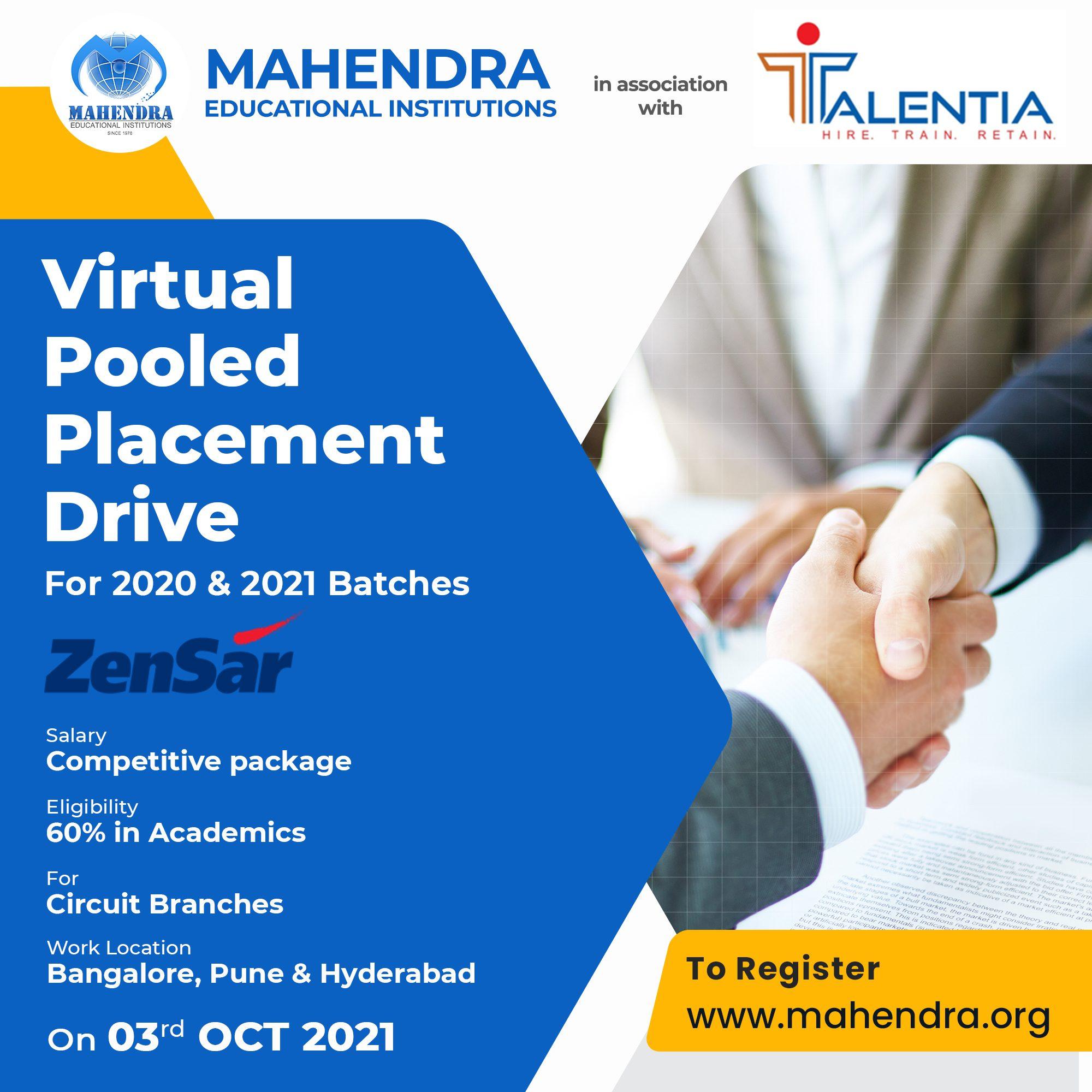 Zensar placement drive - 3rd Oct 2021